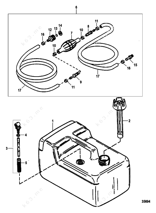 mercury force 5 h p  1998  fuel tank and line assembly