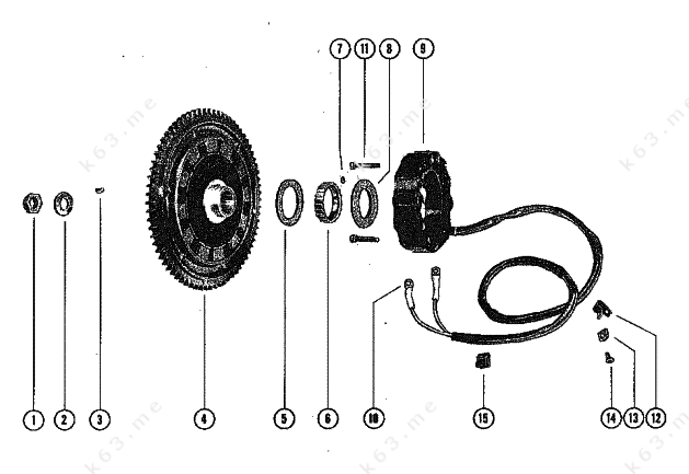 mercury  mariner 800 6 cyl   flywheel assembly and stator