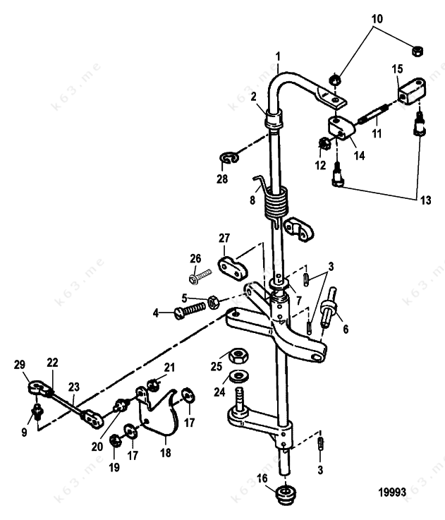 Mercury force 90 h p 1997 towershaft and throttle for Force outboard motor parts diagram